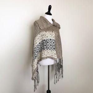 Acrylic Boho Hippie Fringe Poncho Sweater